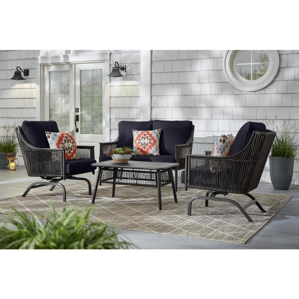 Bayhurst Black Wicker Outdoor Patio Loveseat with CushionGuard Midnight Navy Blue Cushions