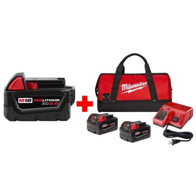 M18 18-Volt Lithium-Ion XC Starter Kit with One 5.0Ah and Two 4.0 Ah Batteries, Charger and Contractor Bag