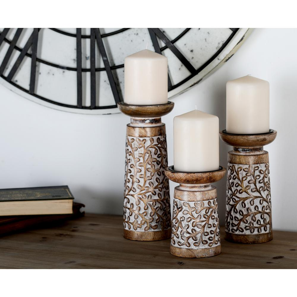 Litton Lane Brown Iron And Mango Wood Candle Holders With Flourish Carvings Set Of 3