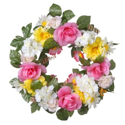 18 in. Decorated Wreath with Roses and Daisies