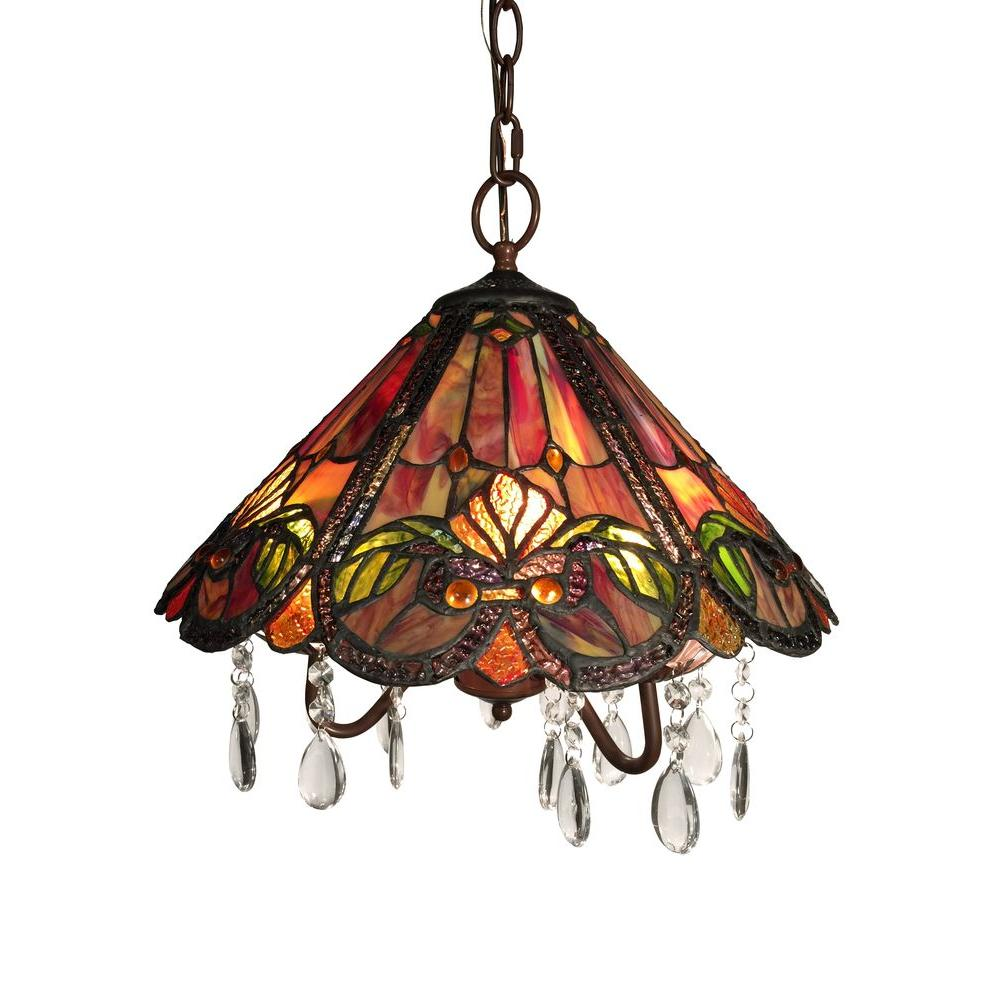 America 3-Light Bronze Indoor Red Tiffany-Style Hanging Lamp with Shade