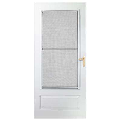 30 in. x 80 in. 300 Series White Universal Triple-Track Aluminum Storm Door with Brass Hardware
