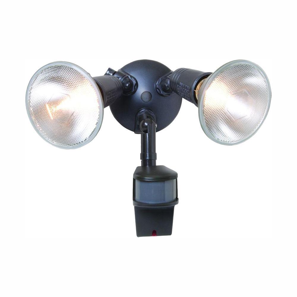180-Degree Bronze Outdoor Motion Activated Sensor Security Flood Light with Precision Plus Doppler Radar, PAR Bulbs