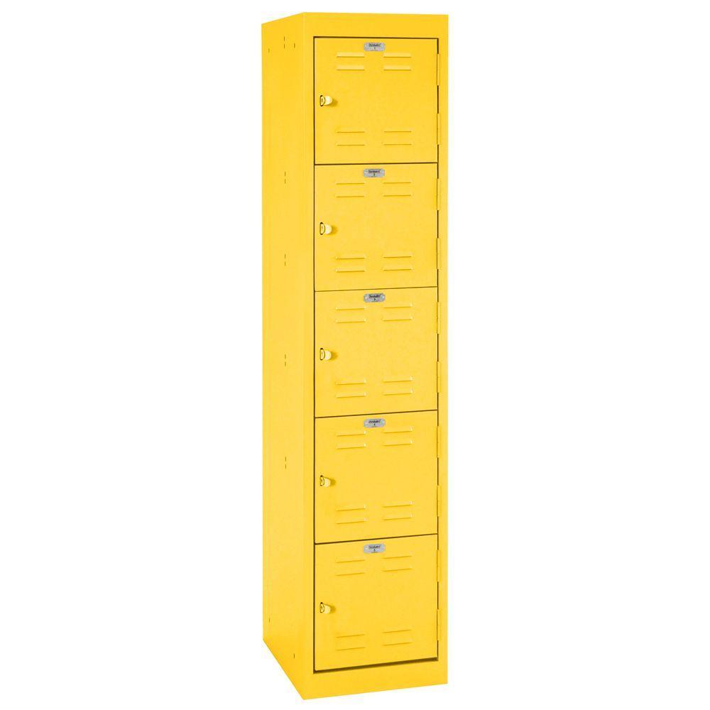 Sandusky 66 in. H x 15 in. W x 18 in. D 5-Tier Welded Steel Storage Locker in Yellow