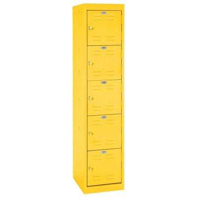 66 in. H x 15 in. W x 18 in. D 5-Tier Welded Steel Storage Locker in Yellow