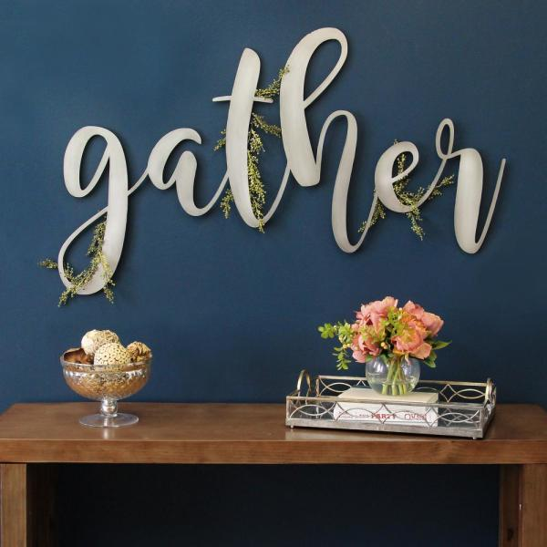 Stratton Home Decor Large Metal Gather Script Sign S12913