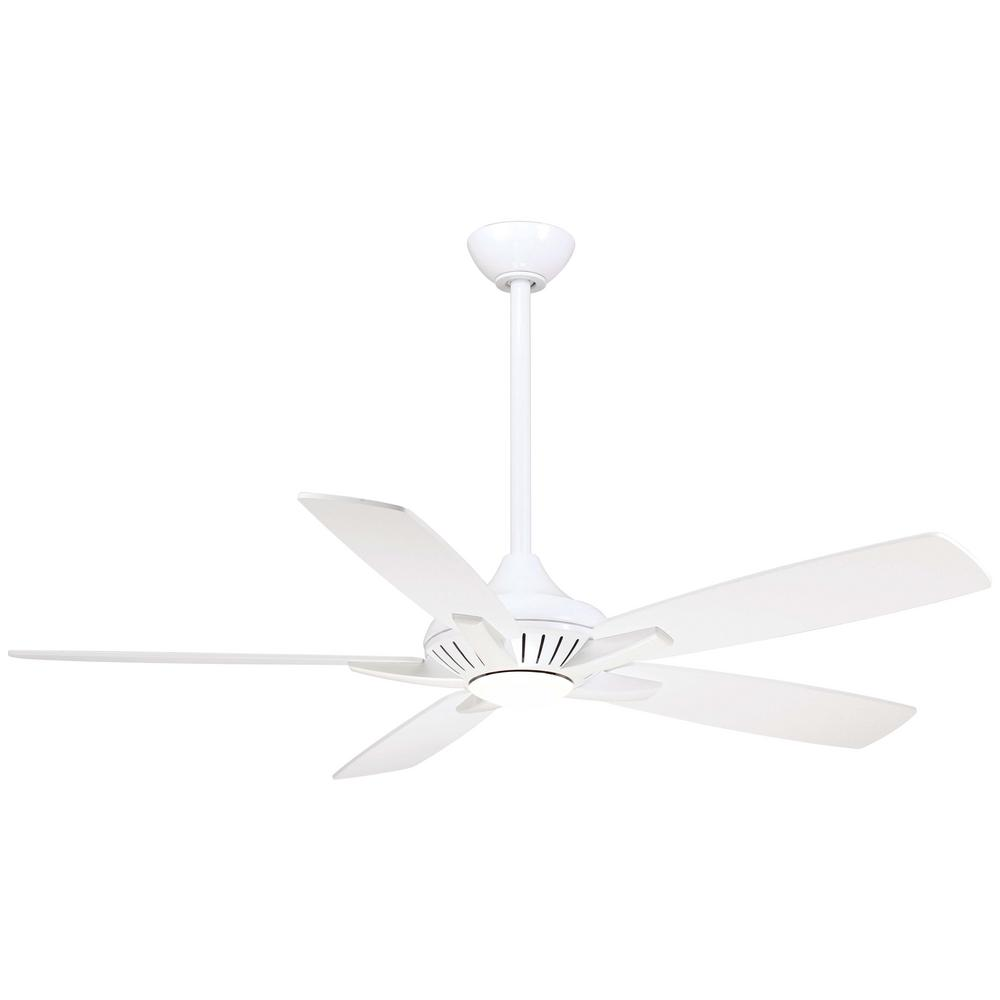 Minka-Aire Dyno 52 in. Integrated LED Indoor White Ceiling Fan with Remote Control