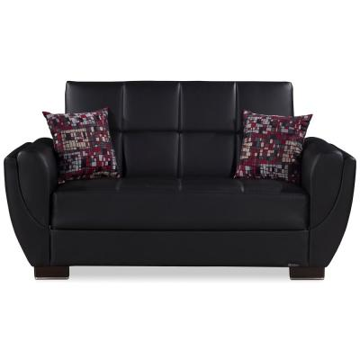 Armada Air Black Leatherette Upholstery Convertible Love Seat with Storage