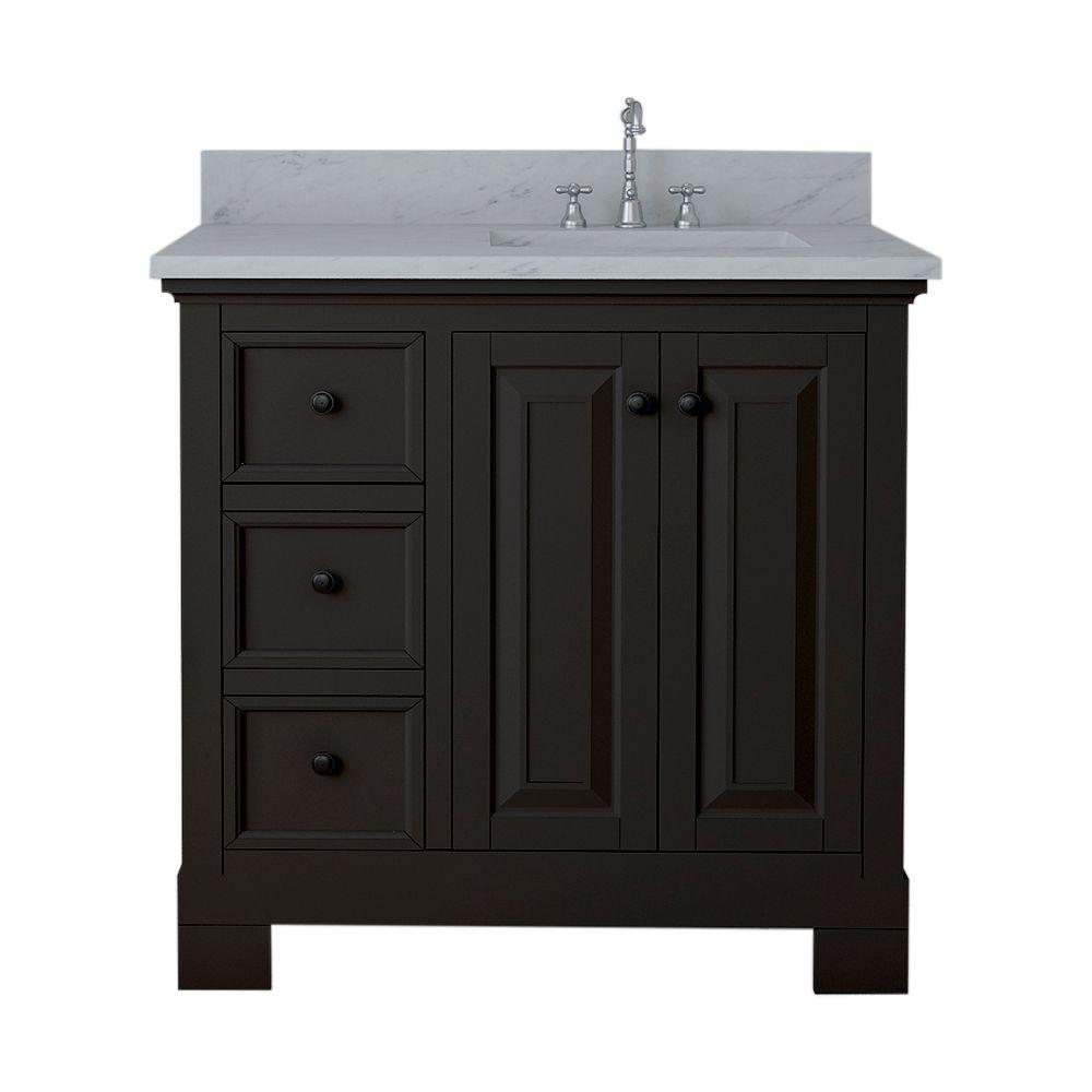 Alya Bath Richmond 36 in. W x 22 in. D Bath Vanity in Espresso with Marble Vanity Top in White with White Basin