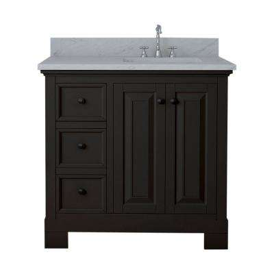 Richmond 36 in. W x 22 in. D Bath Vanity in Espresso with Marble Vanity Top in White with White Basin