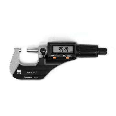 Standard and Metric Digital Micrometer with 0 in. to 1 in. Range, 0.00005 in. Accuracy, LCD Readout and Storage Case