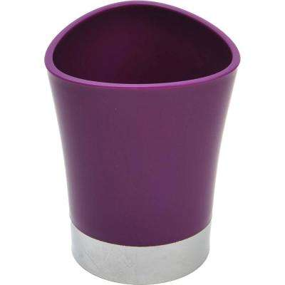 Bath Tumbler Toothbrush Holder in Chrome Base and Purple