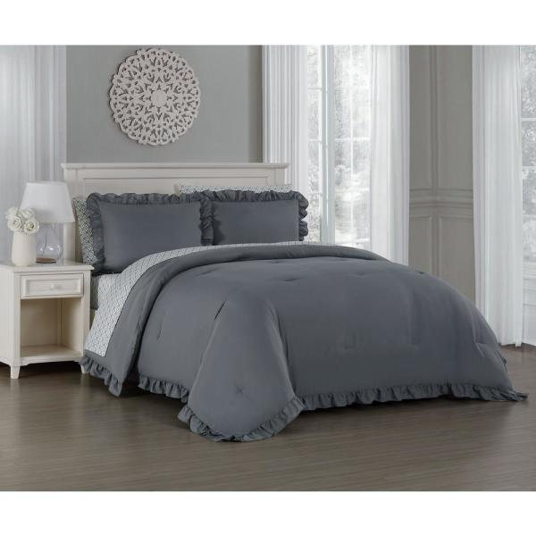Melody 7-Piece Gray Queen Bed in a Bag MLD7BBQUENGHGY