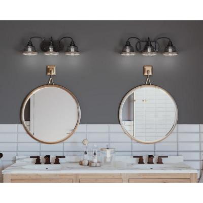Tilley Collection 3-Light Antique Bronze Bathroom Vanity Light with Mesh Shades