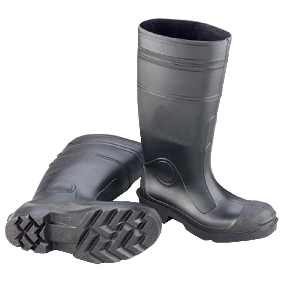 Men's Size 14 Black PVC Plain Toe Waterproof Rain Boots