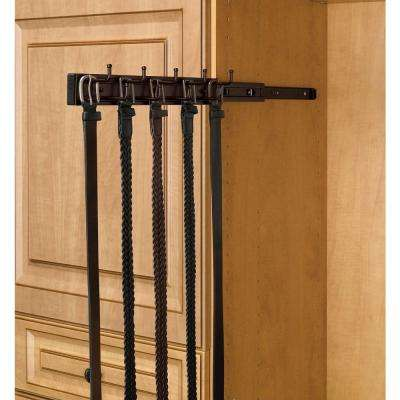 7-Hook Oil Rubbed Bronze Pull-Out Side Mount Belt Rack