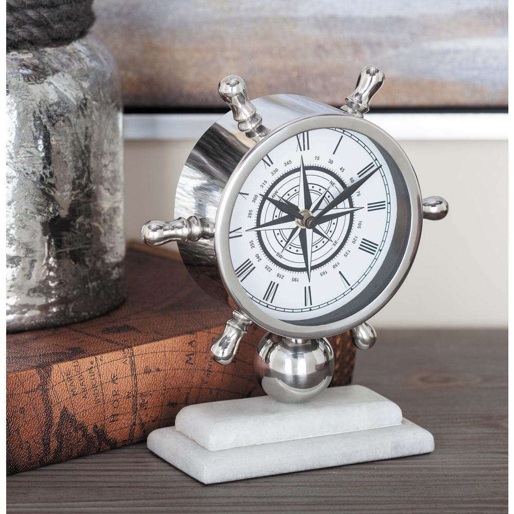 White and Silver Coastal Analog Table Clock