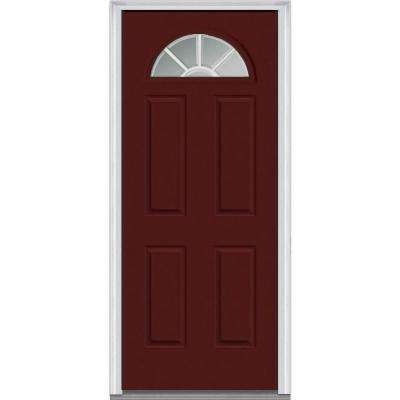 36 in. x 80 in. Grilles Between Glass Right-Hand Inswing 1/4-Lite Clear 4-Panel Classic Painted Steel Prehung Front Door