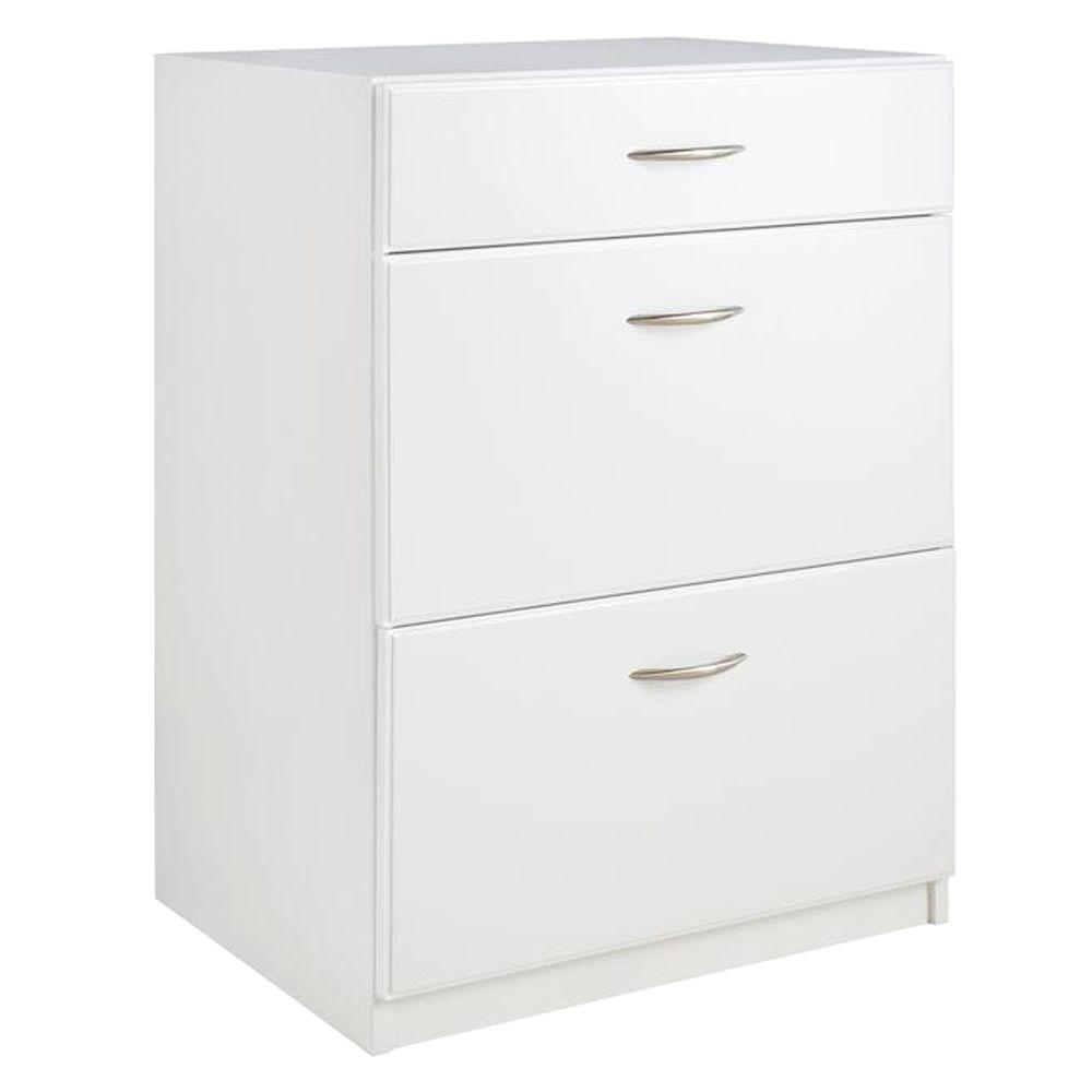 Dimensions 3-Drawer Laminate Base Cabinet in White
