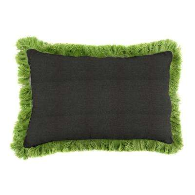 Sunbrella 19 in. x 12 in. Spectrum Carbon Outdoor Throw Pillow with Gingko Fringe