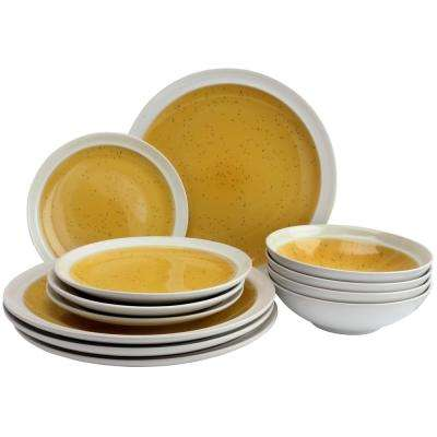 Clementine 12-Piece Yellow Dinnerware Set