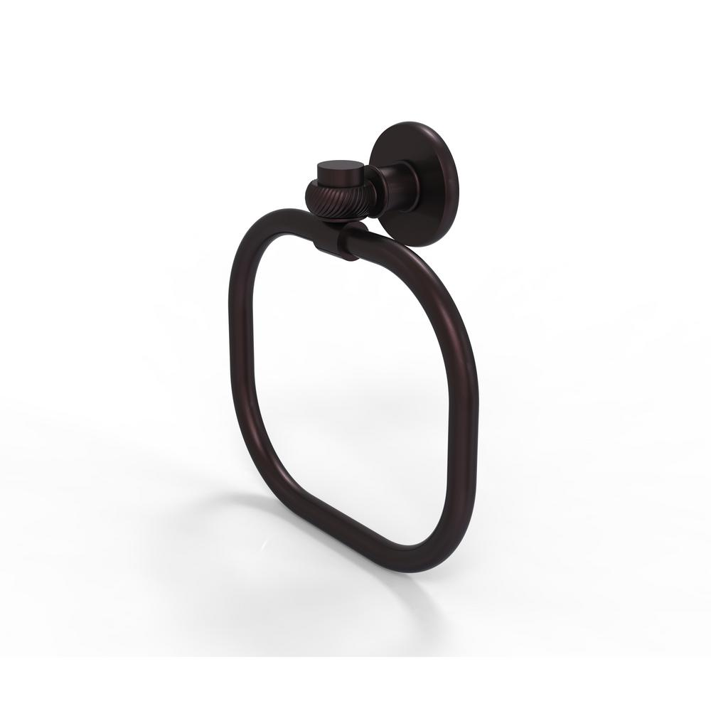 Allied Brass Continental Collection Towel Ring with Twist Accents in Antique Bronze