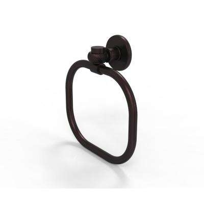 Continental Collection Towel Ring with Twist Accents in Antique Bronze