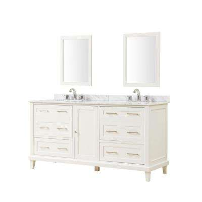 Winslow 70 in. x 23 in. D Vanity in White with Marble Vanity Top in White Carrara with White Basin and Mirrors