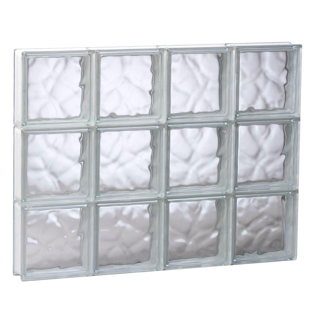Clearly Secure 31 in. x 23.25 in. x 3.125 in. Frameless Wave Pattern Non-Vented Glass Block Window