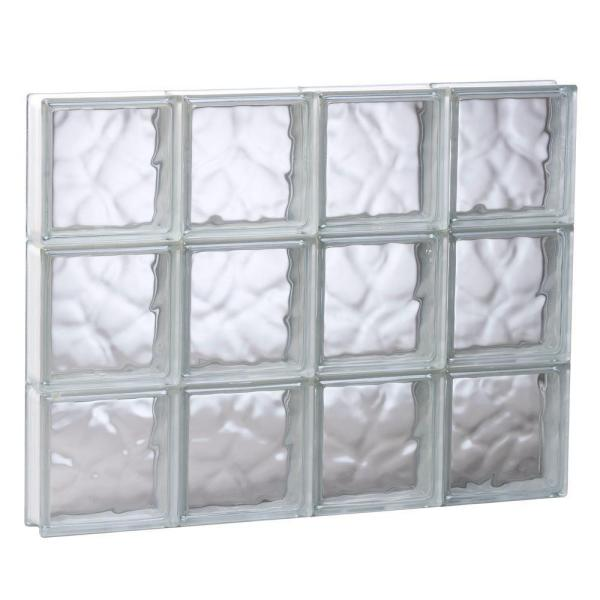31 in. x 23.25 in. x 3.125 in. Frameless Wave Pattern Non-Vented Glass Block Window