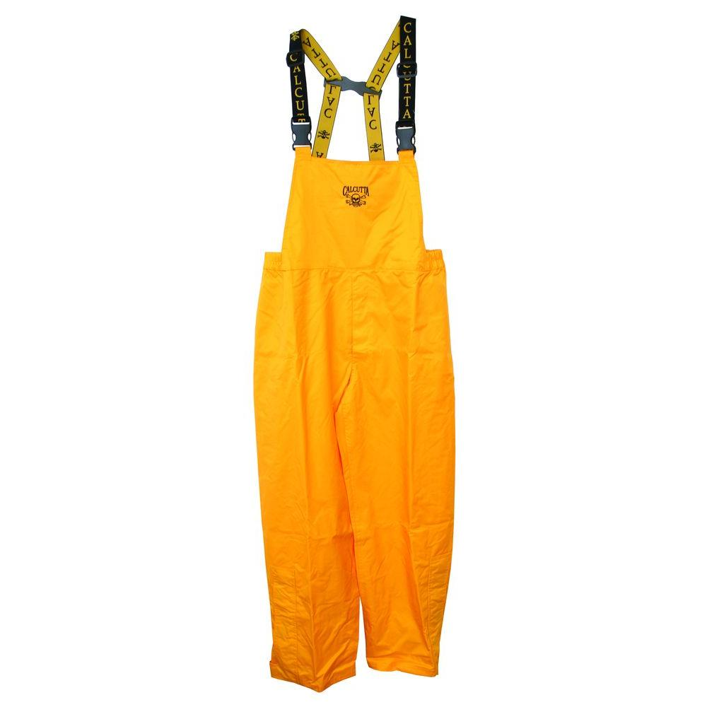 null Adult Large Lower Leg Zippered Bib Rainsuit in Yellow with Adjustable Ankle Straps