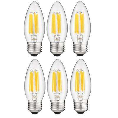 60-Watt Equivalent B11 Dimmable Clear Filament Chandelier LED Light Bulb in Warm White, 2700K (6-Pack)