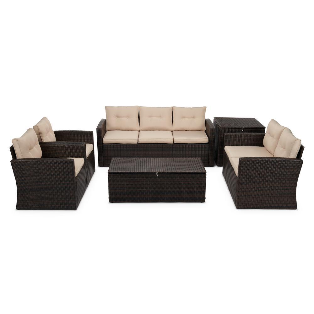 6-Piece Wicker Outdoor Patio Conversation Furniture Set in Beige