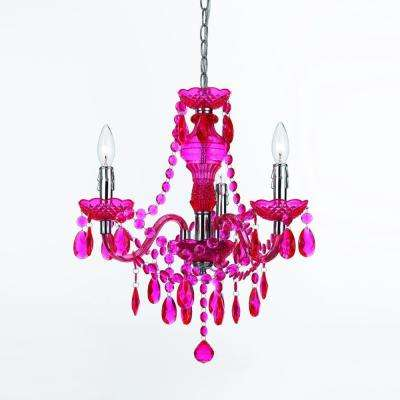 Fulton Hot 3-Light Pink Mini Chandelier