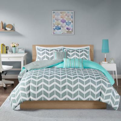 Laila 5-Piece Teal Full/Queen Comforter Set