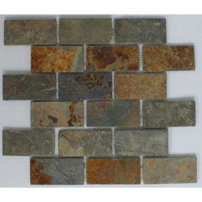 12 In X 8 Mm Tile Esque Grey And Rust Slate