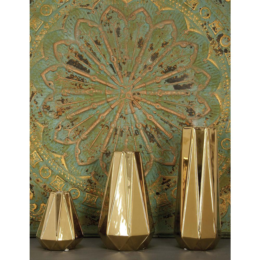 Modern Gold Ceramic Decorative Vases (Set of 3)