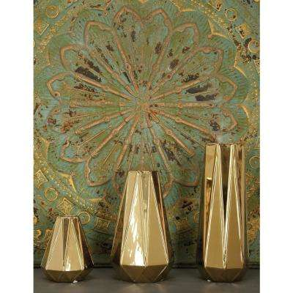 Modern Gold Ceramic Decorative Vases (Set of 3)