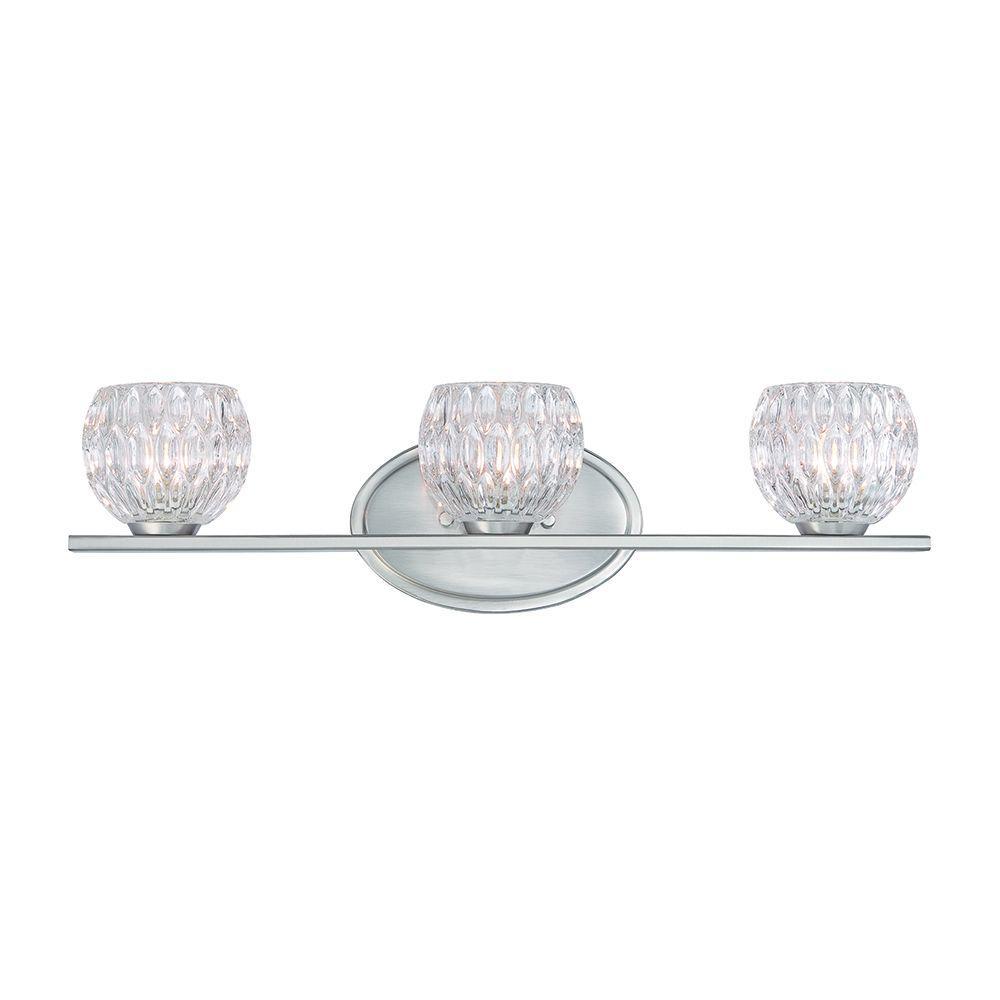 Odessa 3-Light Satin Platinum Interior Halogen Bath Vanity Light