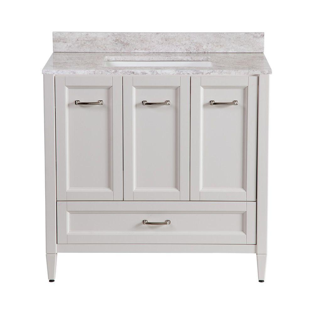 Home Decorators Collection Claxby 36 In W X 22 In D Bathroom Vanity In Cream With Stone Effect Vanity Top In Winter Mist Srsd36comwm Cr The Home Depot