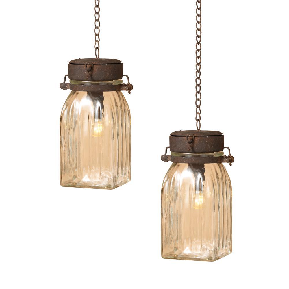 9.25 in. Lighted Hanging Lanterns (2-Set)