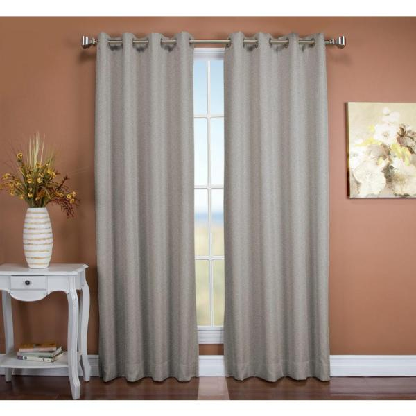 Tacoma 50 in. W x 63 in. L Polyester Double Blackout Grommet Window Panel in Stone