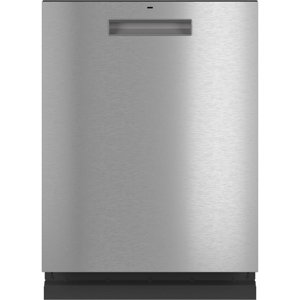 Cafe Top Control Tall Tub Dishwasher in Platinum Glass with Stainless Steel Tub and Steam Cleaning, 45 dBA