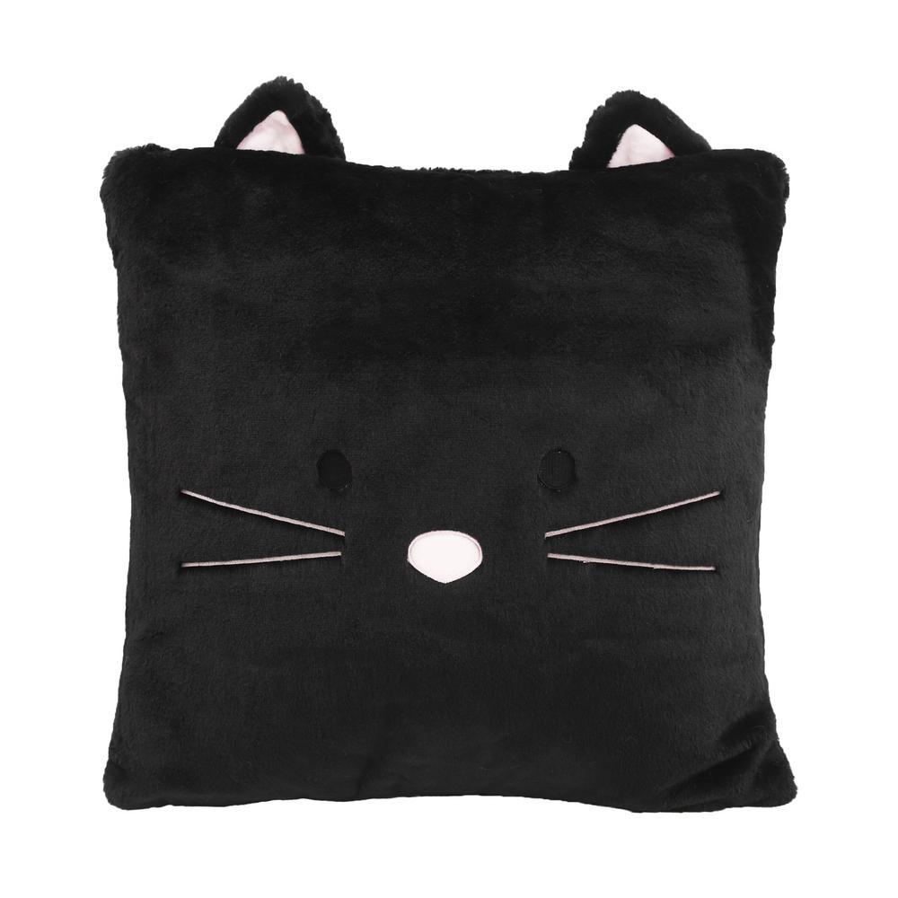 Faux Fur Plush Cat Pillow in Black