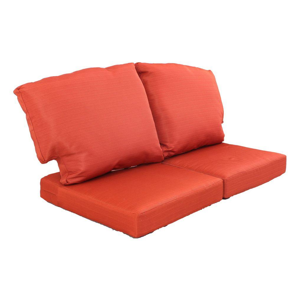 Martha stewart living charlottetown quarry red replacement outdoor loveseat cushion 89 95603 Loveseat cushions for outdoor furniture
