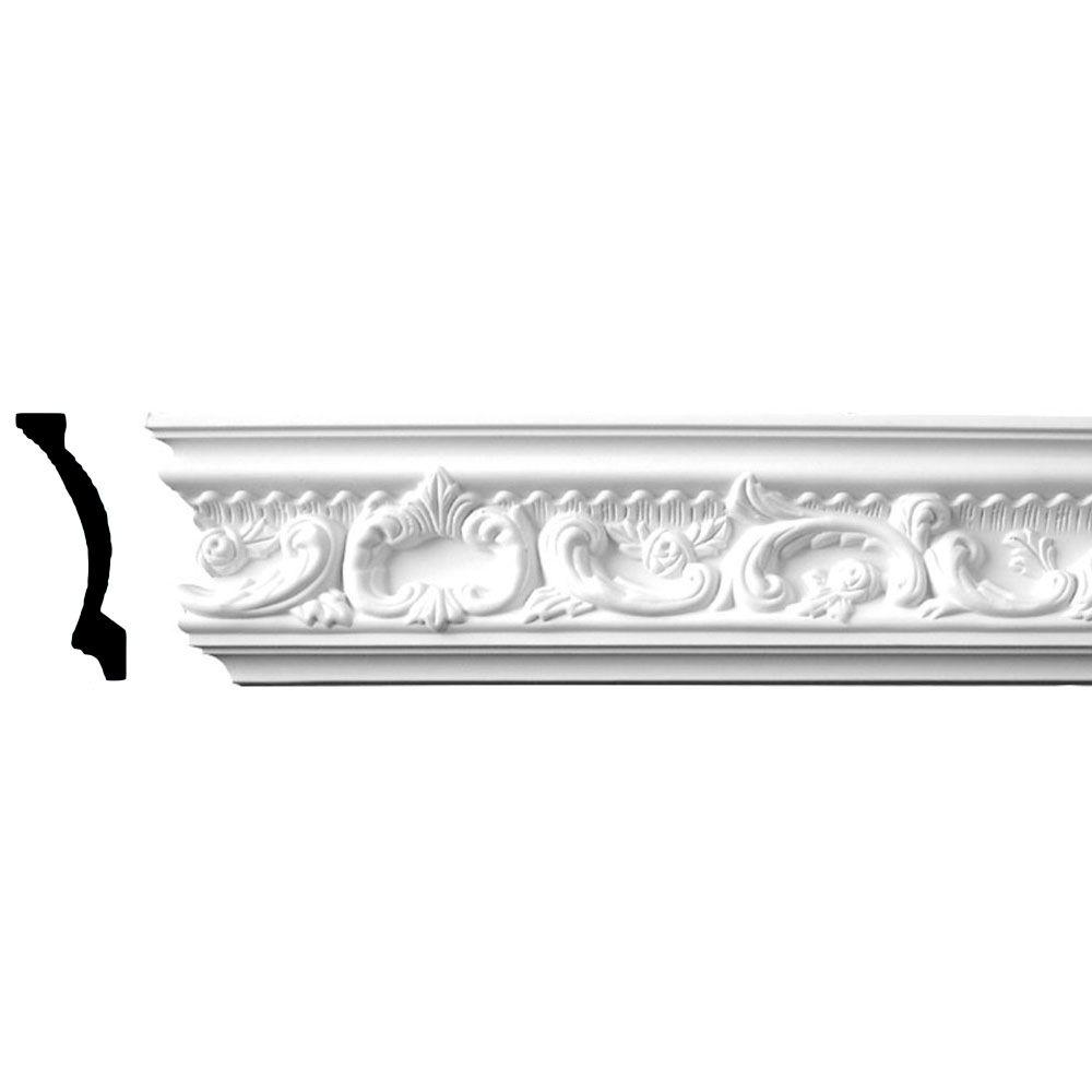 4-1/2 in. x 2 in. x 94-1/2 in. Floral Polyurethane Crown