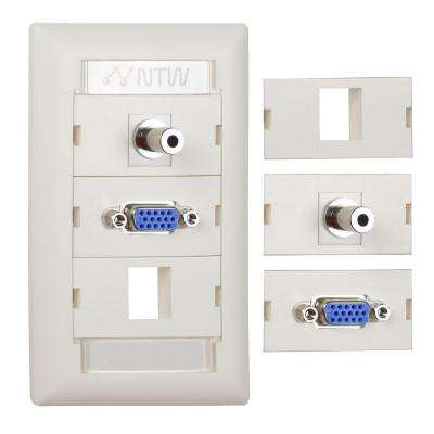 Customizable Unimedia VGA, 3.5 mm Audio Pass Through and 1 Blank Keystone Hole Wall Plate and ID Tag, White