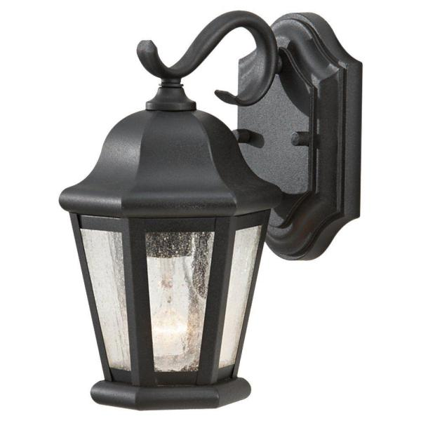 Martinsville 6.25 in. W 1-Light Black Outdoor 10.75 in. Wall Lantern Sconce with Clear Seeded Glass Panels