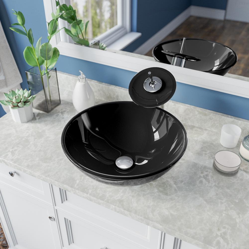 MR Direct Glass Vessel Sink in Black