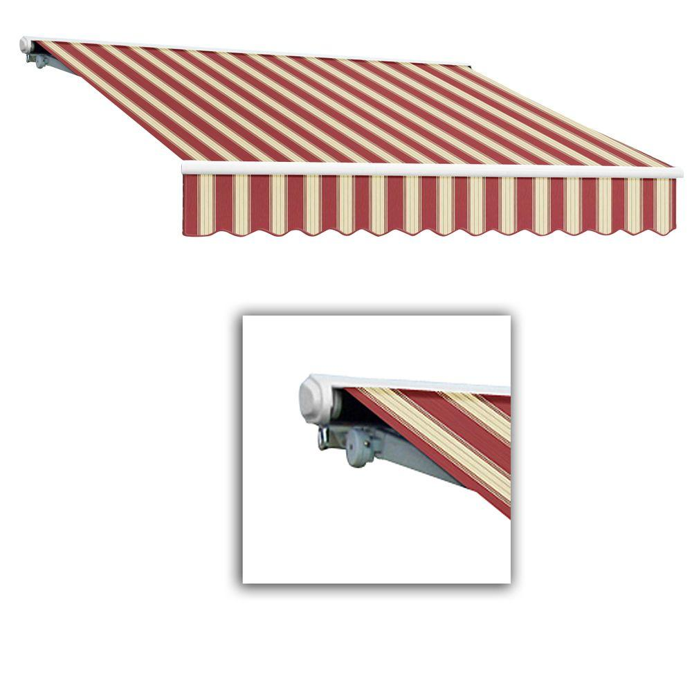 AWNTECH 24 ft. Galveston Semi-Cassette Manual Retractable Awning (120 in. Projection) in Burgundy/White Multi